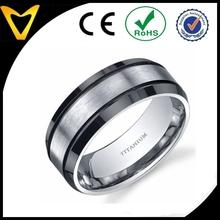 Beveled edge Black and Silver tone Mens 8mm Titanium Wedding Band Ring