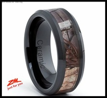 ZHEMEI Black Ceramic Men's Hunting Camo Ring, Comfort Fit Band, 8mm Sizes 5 to 15
