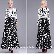 Long sleeve round neck dress white bodice black bottom maxi dress