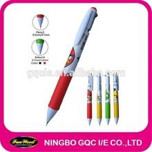 2 ink colors Multi colour pen, 2 in 1 pen,with pencil tip promotional pen