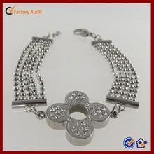 Crystal Flower Charm Stainless Steel Bracelet Jewelry
