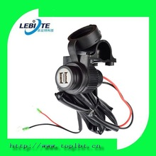 12V Motorcycle Waterproof Dual USB Socket Charger Cable