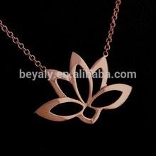 wholesale lotus flower plain silver 925 rose gold pendant