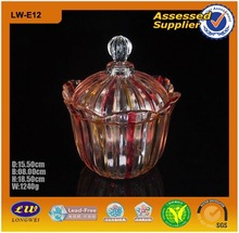 Colour Glass Jar With Glass Lid/Glass Sugar Bowl/Candy Glass