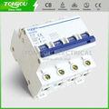 Rápido mecanismo que hace de alta corto- circuito capacidad carril din 230/400vac 32a 4p disyuntor miniatura c45 tom10-63