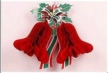 2014 hanging chritmas ornament paper honeycomb bell for decoration