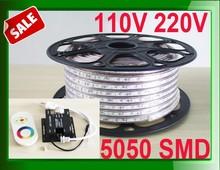 5050 220v 230v led strip stripes 50m 100m roll + RGB touching RF controller / warm pure white 11key dimmer