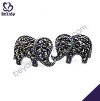 Elephant shape silver material black stud earrings for boys