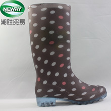 Waterproof Brown Dot Printed Transparent Lady's Rubber Rain Boots