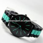 Wholesale !Sky Blue Simple Fashion High Quality Quartz Watch Blacke Edge Geneva Silicone Wrist Watch in Stock!