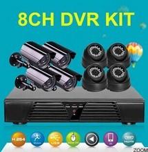 Full hd cctv camera 8ch 720P CVI kit HDMI 1 Mp 4 indoor dome and 4 outdoor bullet CCTV video cameras kit