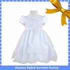 Latest white organza short sleeve girl babies first communion dress