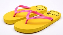 Duck silk screen printing lovers beach flip flops
