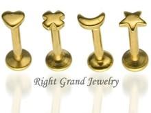 Cross Shaped Gold Internally Threaded Fake Labret Rings