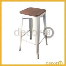Modern Furniture Cafe Industrial Loft Wooden Top Metal Bar Stool