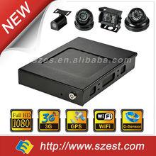 Vehicle security (1080P+3G+WIFI+GPS+G-Sensor) Compact size Works as WIFI AP Wide angle camera HD 4ch BUS DVR