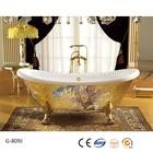 Freestanding gold flower decorated acrylic fancy bathtub for UAE