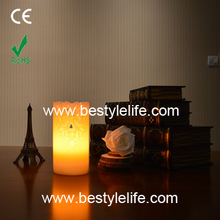Wedding decoration carved yellow flicker led flameless candle light,paraffin wax candle light