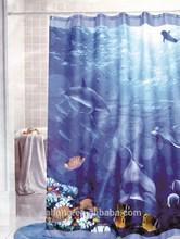 Dolphin design fabric shower curtain