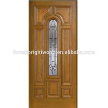 Mahogany Type Arch Glass Prefinished Teak Wood Main Door Designs