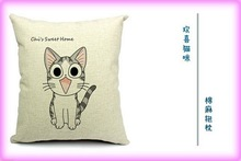 More expression cat cotton and linen pillows, creative design for digital printing