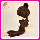 100% acrylic fashion Handmade crochet women knitted hat scarf attached