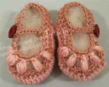 venta al por mayor 2014 de algodón hecho a mano material de tejer zapatos de bebé