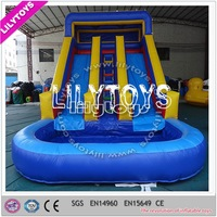 Commercial giant inflatable double lane slip slide with pool on sale