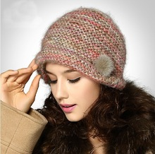 SDC16025 Mohair Mix Color Yarn Knitted Hat with Small Bowing Design