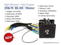 20kw brushless hub motor 48V/72V/96V/120V liquid cooling for electric car