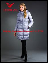 high fashion women's down jacket in nylon-light pressure shell in hazel color