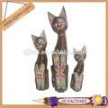 2014 de fábrica al por mayor de madera del arte de la decoración de los animales gato de madera escultura de madera del arte