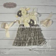 5sets/lot Cream&Gray Lace Dresses Matching Headband and sash belt