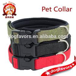 Adjustable Neoprene Base Cotton Dog Collar for Small Medium Breeds 2 sizes Red Green Black