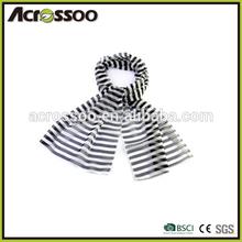 Thin fashion cotton single jersey striped scarf,all season elastic flat knit scarf