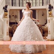 2015Romantic new Bride shoulder strap wedding dress one shoulder paillette bandage lacing bridal gown ball gown vestido de noiva
