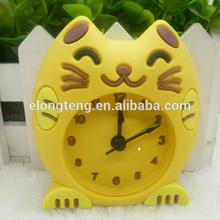 2015 latest custom cartoon plant animal character pantone color Mini Silicone Table Clock/ table clock/ fashional analog clock