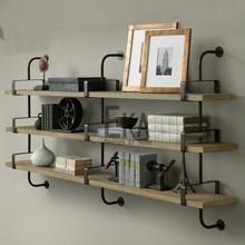 LOFT style retro solid wood hanging rack / American bookshelf / wall shelf