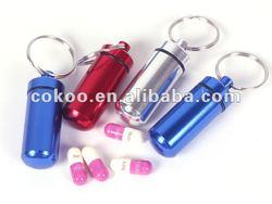 Keyring Pill Holder / Mental Pill Box / Round Pill Case