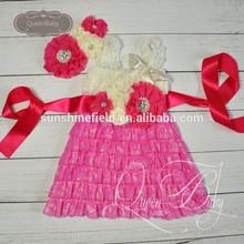 5sets/lot Cream&Fuchsia Lace Dresses Matching Headband and sash belt