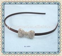 Crytal bow metal headband plain headbands to decorate