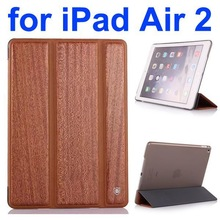Wood Texture Flip Leather Case for iPad Air 2 with Holder