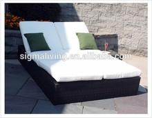 2014 Garden Furniture Wicker Double Beach Sun Lounger Outdoor Patio Beds