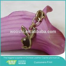 Gold plating metal zipper slider fancy pull rabbit design for handbags