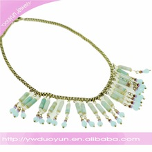 Gold Plating Box Chain Resin Bead Landing Necklace
