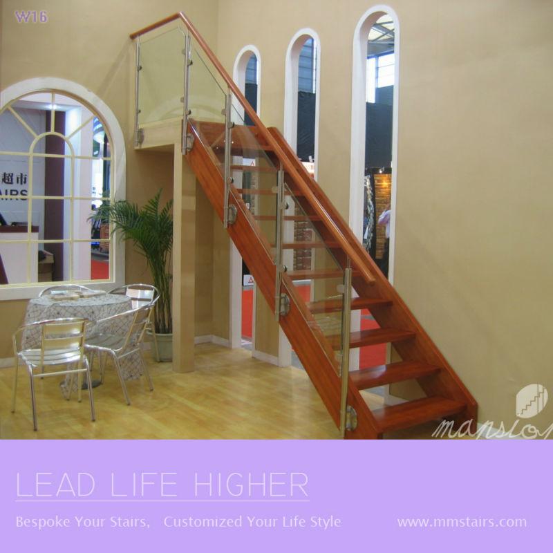 Interior recta de madera de la escalera escaleras - Material para escaleras interior ...
