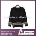 Corea moda paño grueso y suave de la tripulación del cuello suéter de lana hombre/negro de algodón ropa caliente de la venta