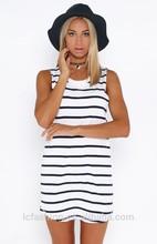 Summer Fashion Sleeveless Black & White Stripe Cotton Casual Dresses Guangzhou for Women