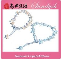 Handmade Light Blue Natural Crystal Beaded Stone Bracelet