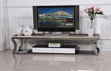 Metal frame marble top tv stand with single drawer designs for hall use.